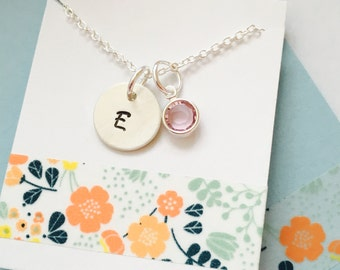 Initial Necklace, Sterling Silver Initial Necklace, Sterling Silver Monogram Necklace, Simple Monogram, Silver Monogram, Personalized