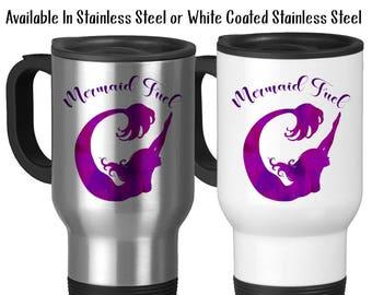 Travel Mug, Mermaid Fuel, Mermaid Gift, Mermaid Mug, Mermaid Watercolor Art, Purple Mermaid Silhouette, Stainless Steel 14 oz Gift Idea
