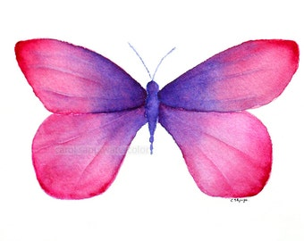 pink butterfly painting-pink purple butterfly-butterfly art-butterfly watercolor-original butterfly painting-archival print-pink butterfly