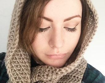 Pigeon grey, Hooded cowl, hood, Crochet/Knitted, womens hooded cowl, womens cowl
