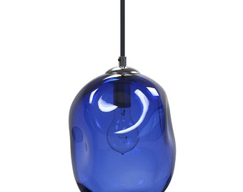 Cerulean Blue River Rock Hand Blown Glass Pendant Light Lighting Glass Pendants and Chandeliers