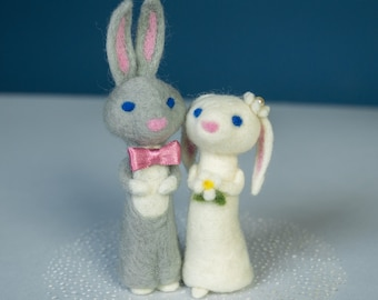 Needle felted Bunnies Bride and Groom Organic Gift Waldorf sculpture