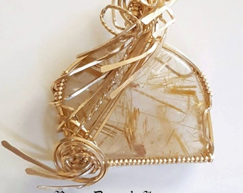 Rutilated Gold Quartz Pendant, Gold Filled Wire Wrap Pendant, Gold Wire Wrap Pendant, Bohemian Jewelry, Hippie Jewelry, Gypsy Jewelry