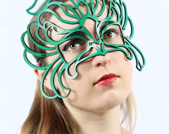 Decaflor leather mask in green