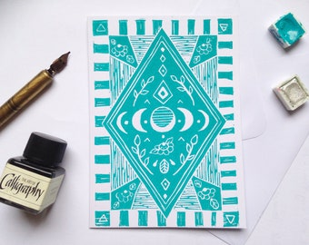 Moon phases - Hand-printed linocut greeting card black or turquoise
