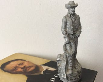 Stetson Cowboy - Advertising - realistic looking figurine - Collectible Pewter - Farmhouse - Man Cave Decor