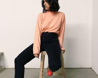 vintage 90s peach mock neck sweater // large