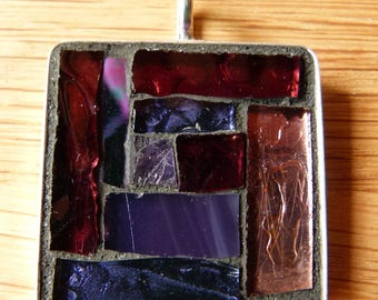 HandCrafted Stained Glass Mosaic Pendant-Purple Large Square