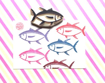 tuna fish rubber stamp | marine life stamp | summer holiday scrapbooking | diy birthday christmas gift wraps | hand carved by talktothesun