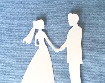 Wedding Couple Groom and Bride Die Cut Scrapbook / Card Making Supplies 8 pcs