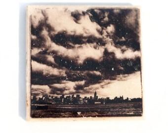 Stormy New York City Coaster (1 Stone Coaster) Black and White NYC Home Decor, Stocking Stuffer