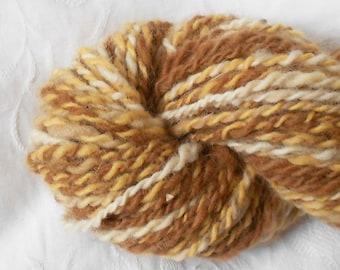 Gold/brown/white Handspun Yarn