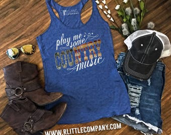 Play Me Some Country Music Women's Lightweight Tanks and Festival Tanks XS-4XL // Country Concert Tank // Country Music