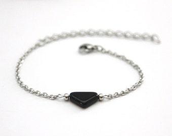 Minimalist stainless steel bracelet pearl triangle black glass - ethnic jewels - triangle bracelet - geometric jewelry - ethnic bracelet