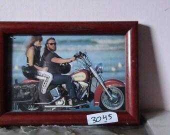 framed harley and rider