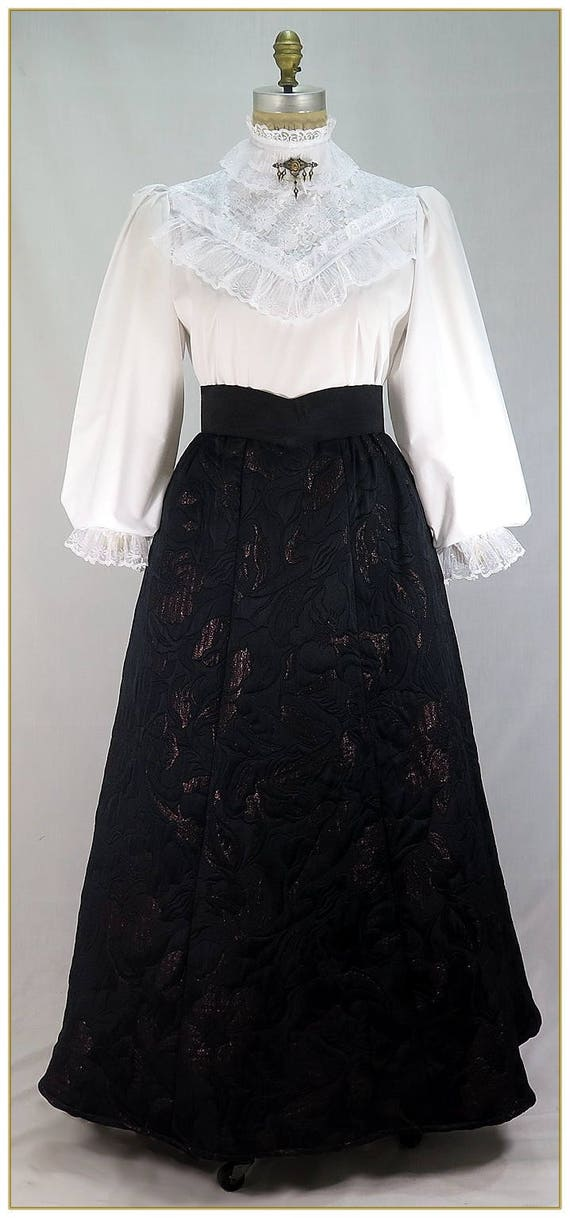 Victorian Skirts | Bustle, Walking, Edwardian Skirts Embossed Floral Brocade Victorian Skirt $65.00 AT vintagedancer.com