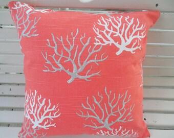 Coral Outdoor Pillow Cover Coastal Beach Patio Porch Decorative Throw Pillow Outdoor Cushion