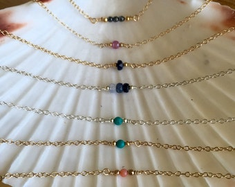 Tiny pink sapphire/blue sapphire/turquoise/black spinel/salmon coral/ hematite delicate healing necklace, layer minimal necklace