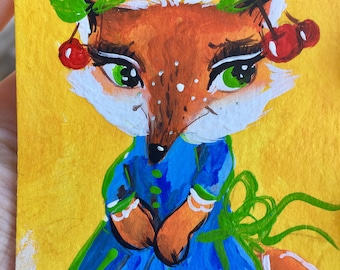 Aceo original acrylic painting mini art Fox Aceo