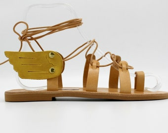 Leather sandals wings, women's gladiators, leather gladiators, greek sandals,Sandales Grecques Ailles, Sandales Femme, Sandales Cuir
