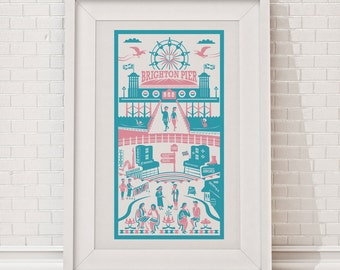 Brighton Print | Brighton illustration | City art print | England illustration |Travel print | Travel poster | Wall art | Brighton art