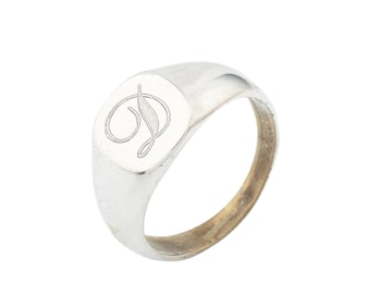 Silver Personalized Signet Ring/ Inital ring