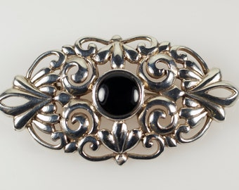 Silver Onyx Brooch Pin, Vintage Solid Sterling Silver Onyx Victorian Style Ornate Oval Pin Brooch