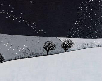 Snow Storm Coming - Archival 8x8 Print - Winter Landscape Painting - Minimalist Art, Birds - by Natasha Newton