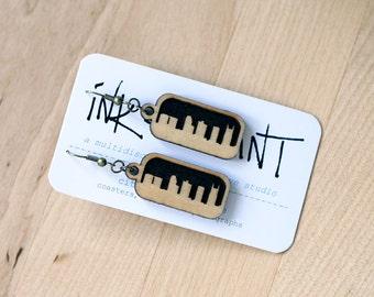 Nashville Skyline Earrings (Laser Cut Wood) Cityscape Jewelry - Gift for Her