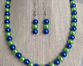 Blue and Green Beaded Necklace, Royal Blue and Lime Green Jewelry, Bridesmaid Necklaces, Multicolored Beaded Jewelry, Bridesmaid Gift