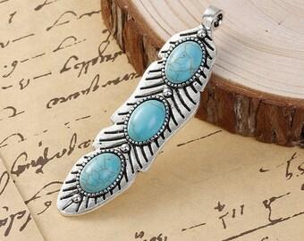 x 1 style Bohemian turquoise leaf pendant silver antique 7.6 x 2 cm