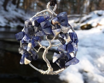 Wire-wrapped Tree of Life Pendant with Sodalite Gemstone Chips