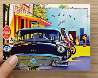 Note Cards Blank Set of 8 Gruene Hall Texas Country Music Landmark Buick Coca Cola Retro Thank You Card Greeting Card Stationery