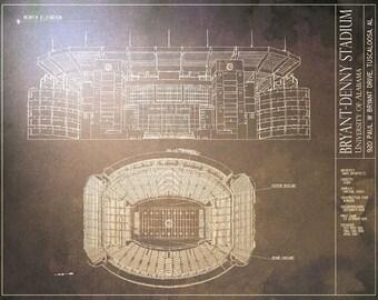 Stadium blueprints etsy bryant denny stadium blueprint university of alabama vintage football poster malvernweather Gallery