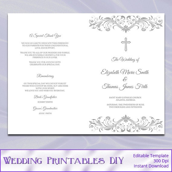 Catholic Wedding Ceremony Program: Items Similar To Catholic Wedding Program Template, Diy