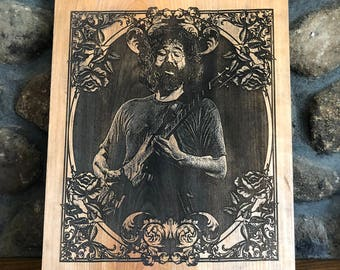 Jerry Garcia Wood Portrait(grateful dead, jerry garcia, steal your face, jerry garcia shirt, grateful dead shirt, grateful dead art