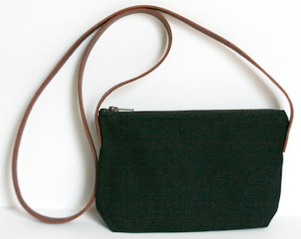 Black Crossbody, Waxed Canvas Bag, Minimalist Style, Carry Purse, Shoulder bag, canvas leather purse, everyday carry