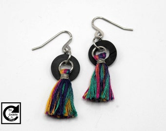 Tri-cycle: multicolored tassel earrings / inner tube recycled / eco-friendly / vegan jewelry / eco jewelry / Veggie