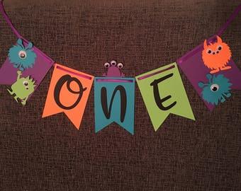Monsters 1st Birthday Highchair Banner - First Birthday - Cute Monster