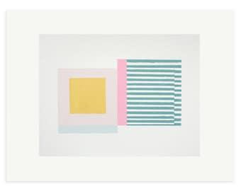 Mid Century Modern art, original screenprint, sherbet colours by Emma Lawrenson