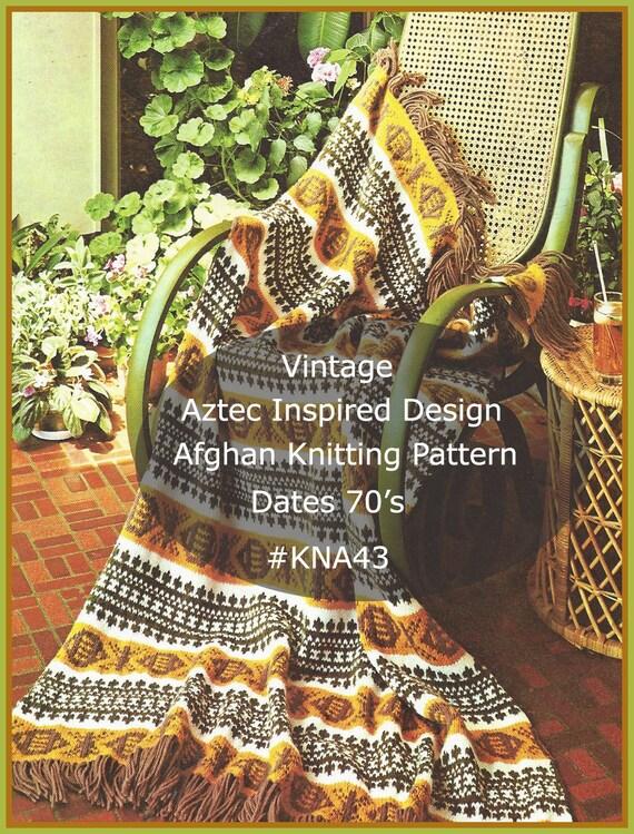 Aztec Afghan Knitting Pattern Aztec Inspired Vintage Retro Afghan