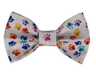 Colorful Paw Prints in the Snow Bow Tie by The Debonair Doggy