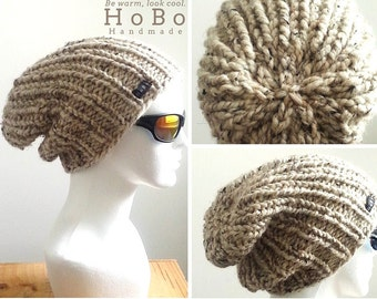 Mens Slouchy Beanie 9 Colours Available. HoBo Handmade thick chunky hand knit slouch hat Mens/Womens/Kids - Small/Medium/Large/Extra Large