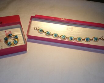 Judy Lee Teal Rose Bracelet and Pin Set New In Box