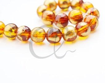19pcs of Round Glass Beads - Transparent Topaz Gold Foil 10mm