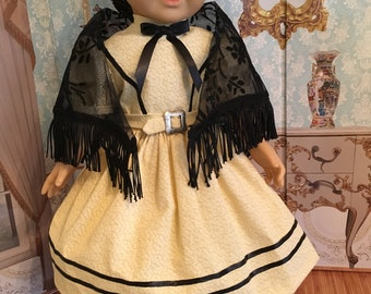 American Girl Historical Victorian 1850's Dress with Shawl and Snood