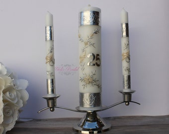 25th Anniversary Unity Candle Set with or without the Candle Holder, 25th Wedding Anniversary, Anniversary Unity Candles, Anniversary Gift