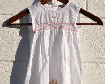 Indian Hand-embroidered Floral Size 12-month Smocked Sundress