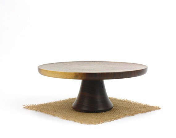 "9 1/4"" Walnut Cake Stand / Wooden Pedestal Dessert Plate /Cupcake Stand"