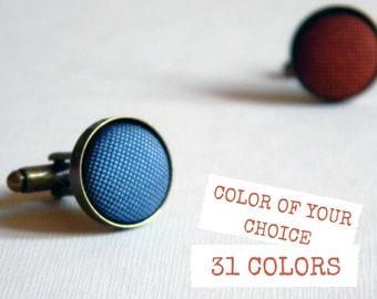 Fabric cufflinks. Custom colors. Round cufflinks. Cufflinks for groom. Bespoke cufflinks. Wedding cufflinks. Made in Italy